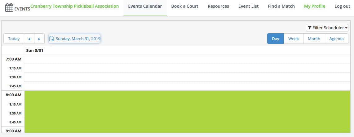 events calendar tab